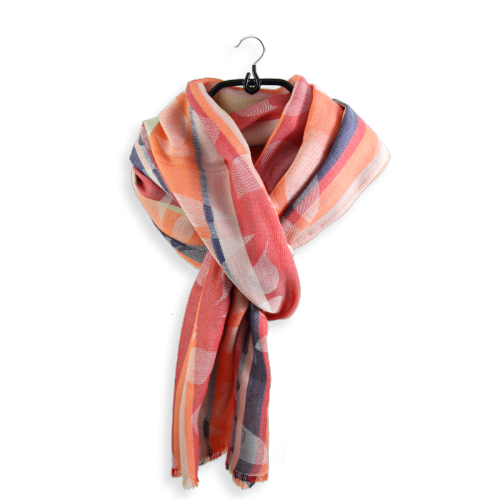 Foulard-Baliste-coton-orange-rouille-rouge