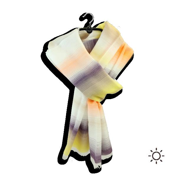 Foulard-homme-femme-coton-soie-jaune-violet-Cigaline