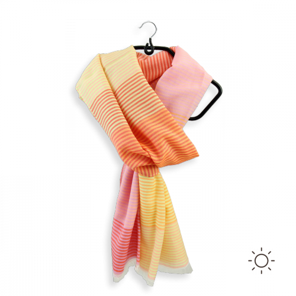 Foulard-femme-coton-soie-jaune-rose-Hippocampe