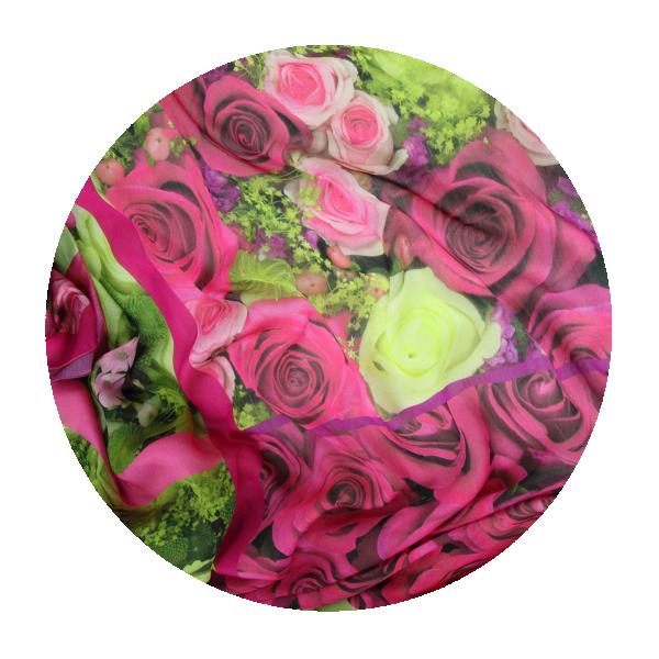 Carre Fleur soie modal rose rouge Fabrique en France
