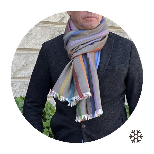 Etole-homme-cachemire-soie-beige-rayures-multicolores-Paul-1A