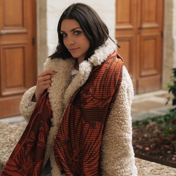 Etole-femme-laine-soie-coton-orange-valparaiso-4A