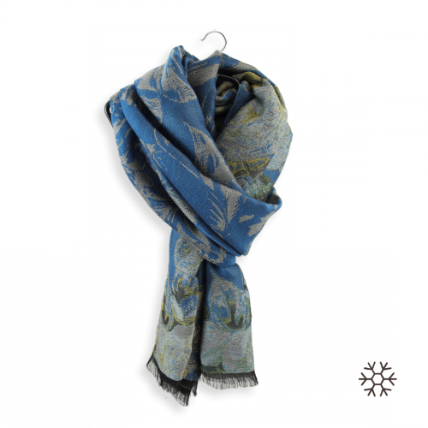 Women-stole-wool-cotton-silk-duck-blue-Botanic-3A