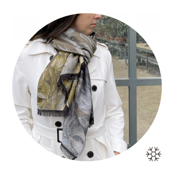 Woman-stole-wool-coton-silk-beige-botanic-1A