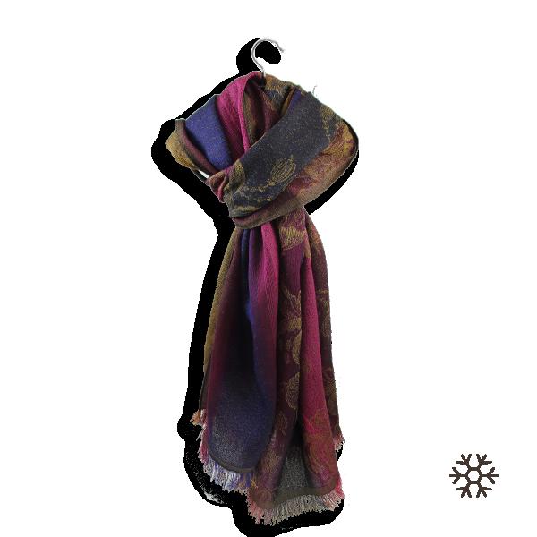 Woman-stole-wool-cotton-silk-pink-navy-Damasse