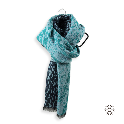 Scarf-women-merino-wool-cotton-navy-turquoise-Istanbul-2A