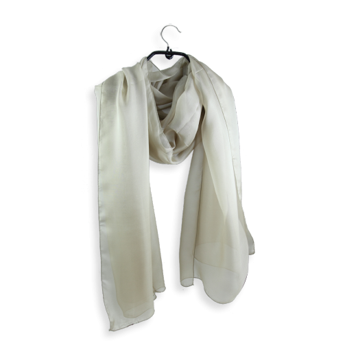 Silk chiffon stole made in France beige