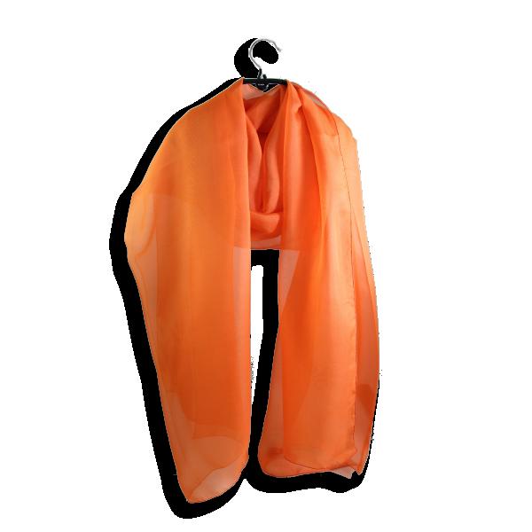 Silk chiffon stole made in France orange