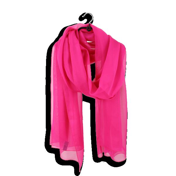 Silk chiffon stole made in France pink fuschia