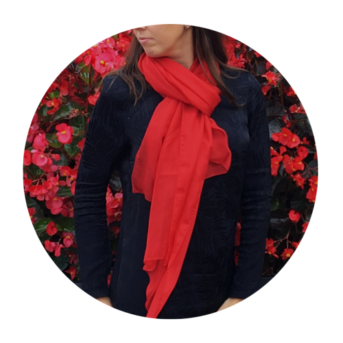 Silk chiffon stole made in France red