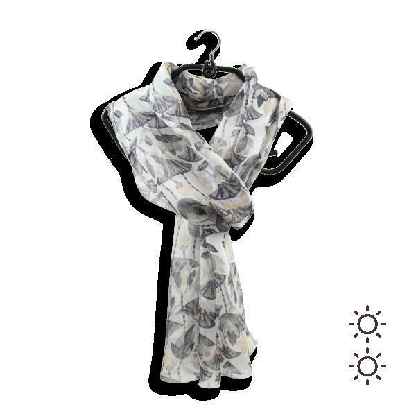 Woman-silk-printed-scarf-lotus-flowers-white-grey-3A