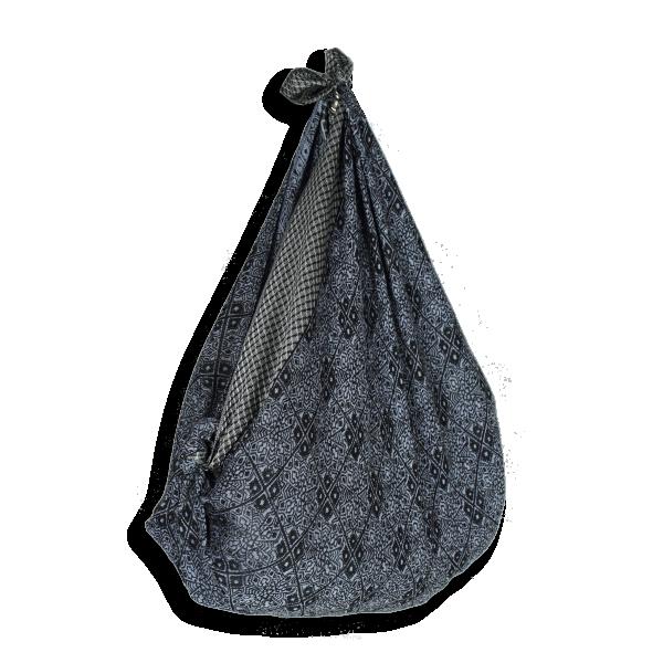 Sac-coton-modal-soie-furoshiki-gris-bleuté-noir-Alicia-A
