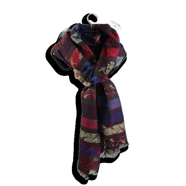 Scarf merino-wool-silk-cotton-swallow-burgundy-made-in-France