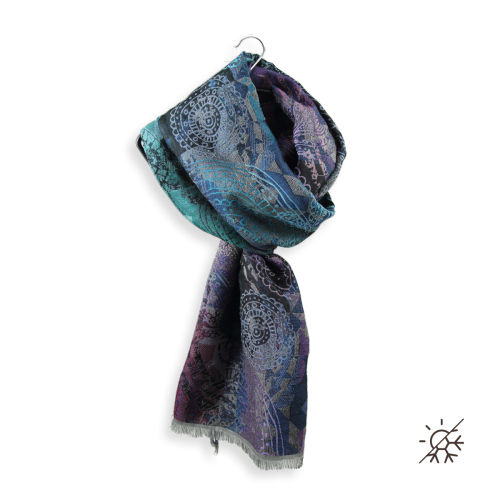 Scarf-woman-inspired wool-cotton-silk-marine-turquoise-4A