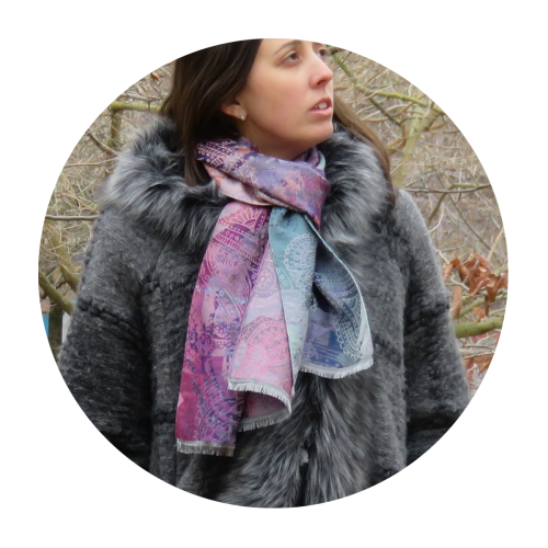 Scarf-woman-inspired wool-cotton-silk-pink-purple-1A