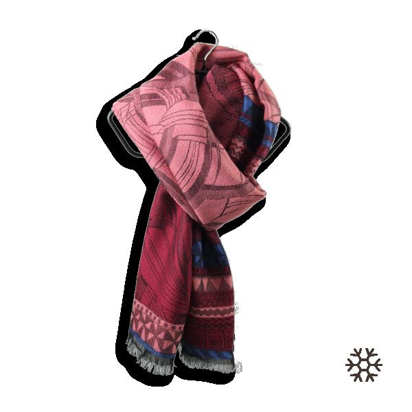 Scarf-woman freak-wool-silk-pink-burgundy-1A