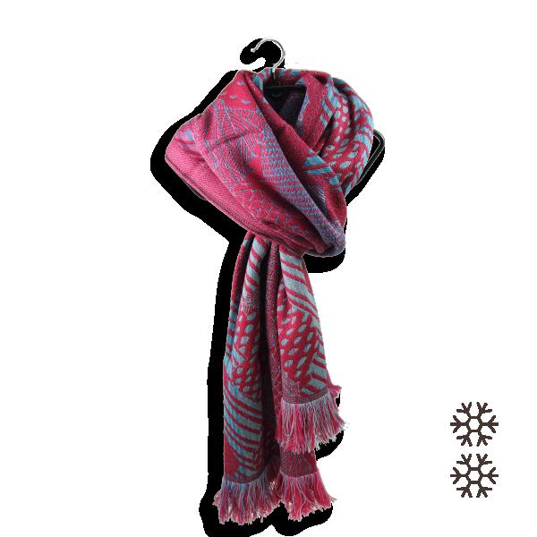 Women-scarf-merino-wool-modal-nebuleuse-winter-sport-pink-fuxia-2A