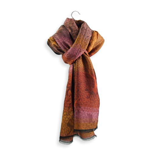 Scarf-Olivier-wool-merino-modal-factory-en-France-orange-pink