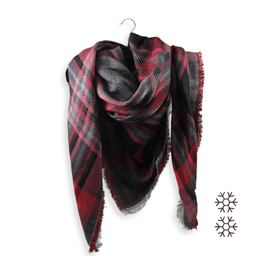 Scarf-oversize-women-merino-wool-cotton-silk-Frisson-red-black-1A