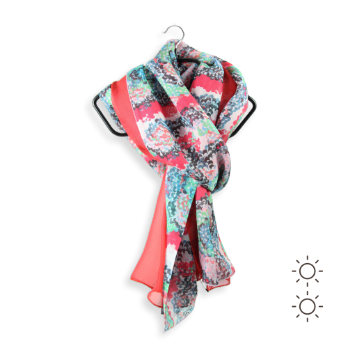 Woman-scarf-silk-duo-plain-printed-Coquillage-red-4A