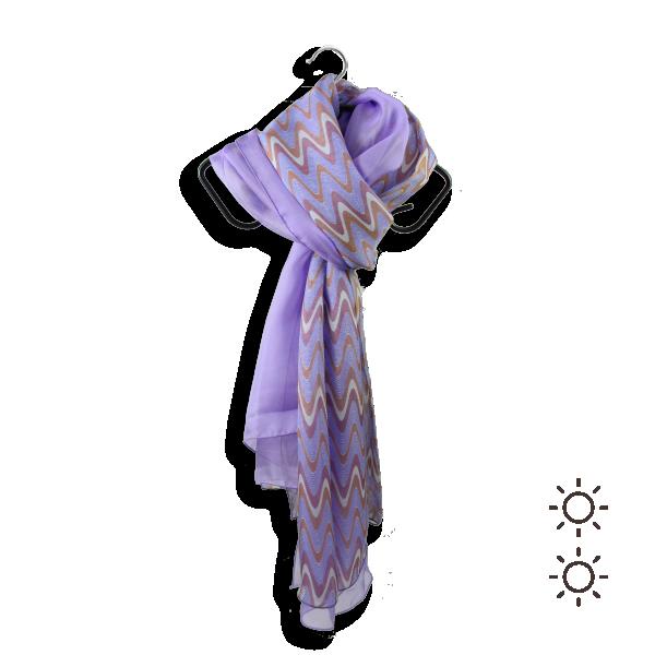 Woman scarf silk duo design Ondulation purple light 3A