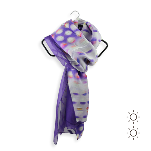 Woman scarf silk duo design round purple 1A