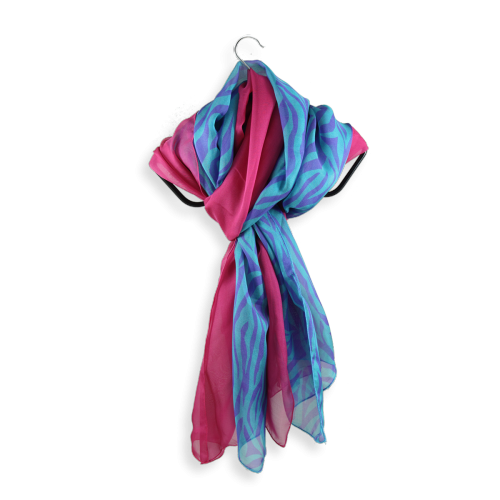 scarf silk printed stripes turquoise violet uni pink fuchsia made in France