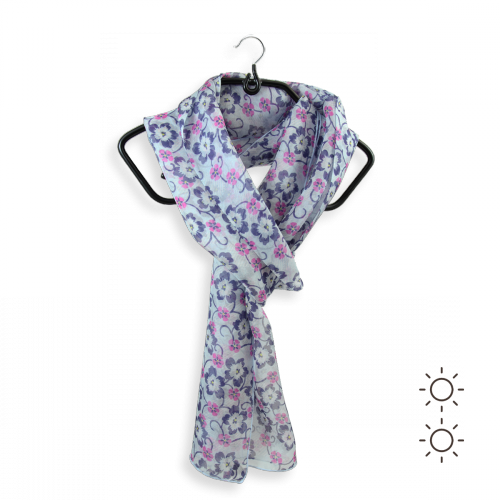 Woman-scarf-silk-blue-sky-printed-flower-made-in-France