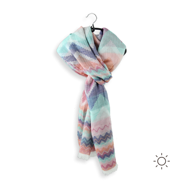 Cotton linen woman stole boundary pink blue