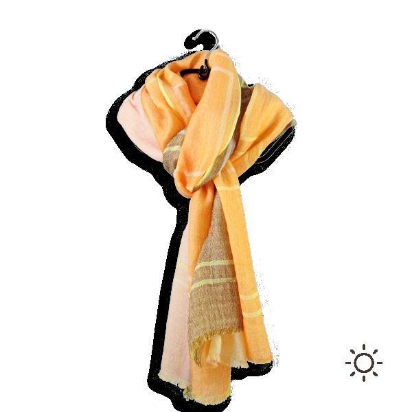 Woman-stole-cotton-modal-yellow-orange-Freesia-1A