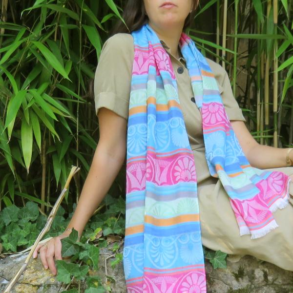 Woman-stole-coton-modal-silk-Nereide-blue-2A