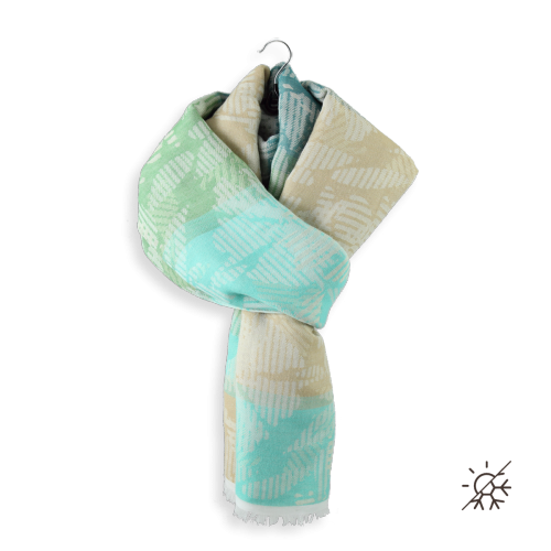 Woman-stole-cotton-modal-Columbia-turquoise-beige-1A