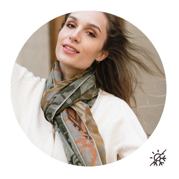 Woman-stole-cotton-silk-made-in-france-gold-khaki-Savane