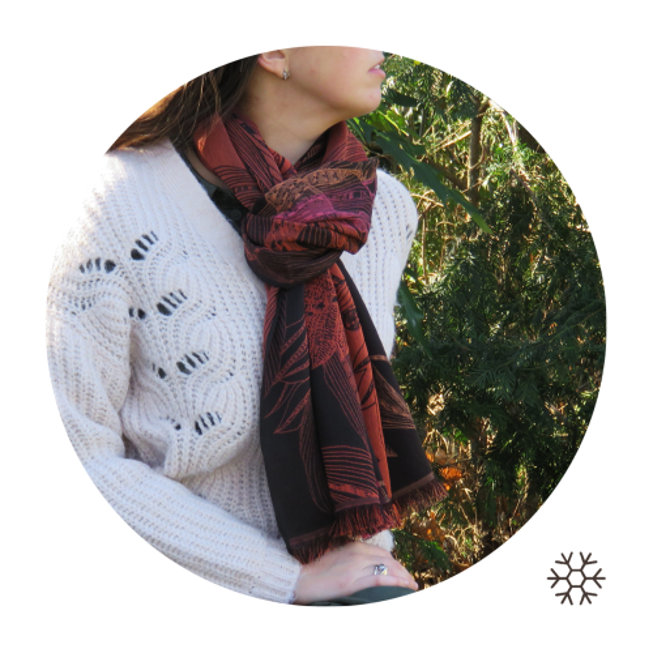 Woman-stole-wool-coton-silk-brown-Venise-4A