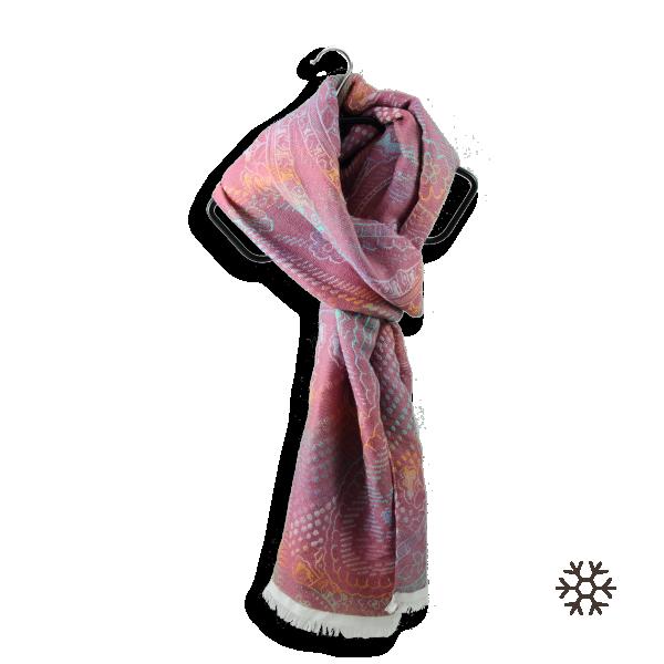 Woman-stole-wool-cotton-modal-fuxiia-pink-Santorin-2A