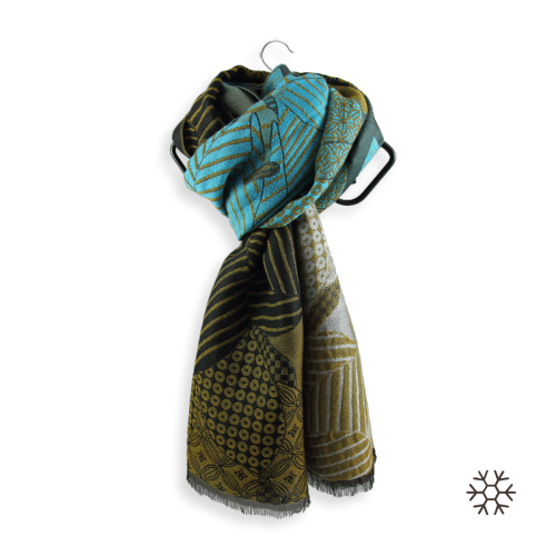 Stole-woman-amour-wool-silk-turquoise-gold