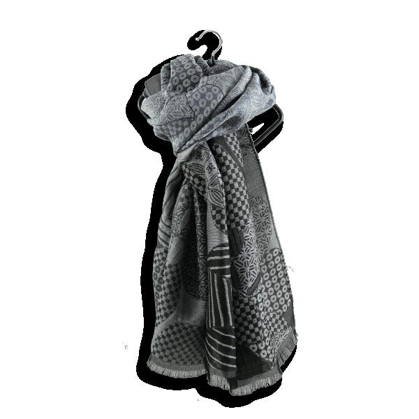 Stole-man-woman-amour-wool-silk-gray-black