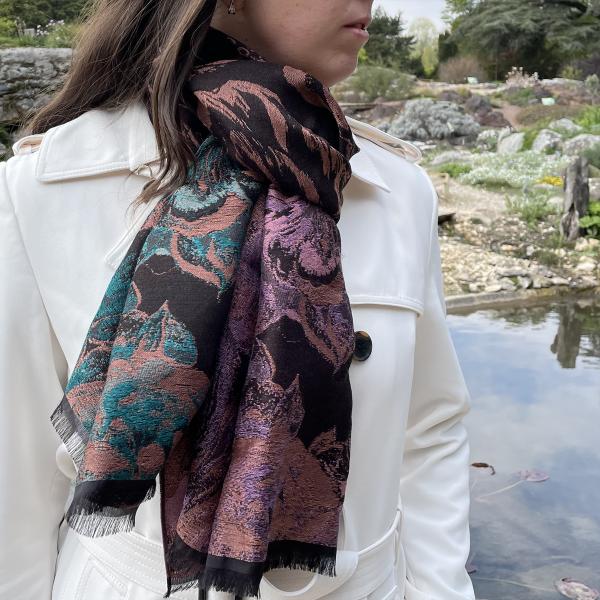 Woman-stole-wool-cotton-silk-brown-Botanic-4A