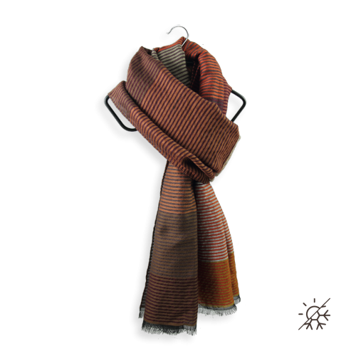 Stole-woman-Kaleida-wool-cotton-silk-brown-leather-21A