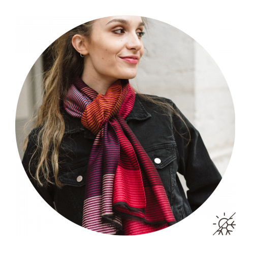 STOLE MERINO WOOL COTTON SILK KALEIDA RED