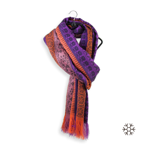 Woman-stole-merino-wool-modal-orange-purple-Precieux-4A