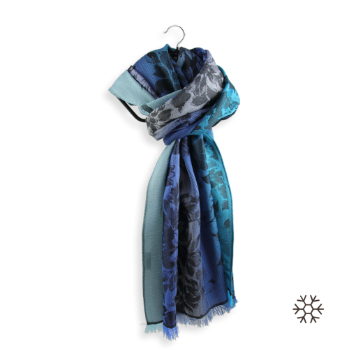 Stole-woman-romantic-wool-silk blue