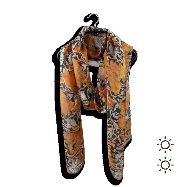 Scarf-woman-beast-skin-silk-orange-1A