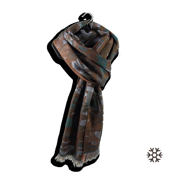 Women-stole-silk-wool-cotton-brown-green-Oslo-2A