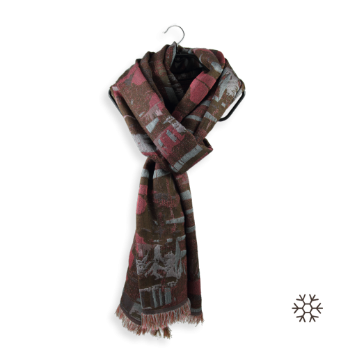 Women-stole-silk-wool-cotton-brown-pink-Oslo-1A