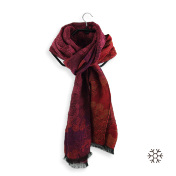 COTTON MERINO WOOL STOLE ELAN RED