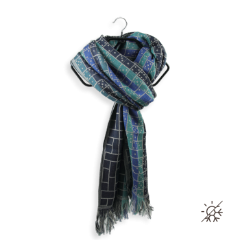 COTTON MODAL SCARF GREY BLUE STRATEGIE