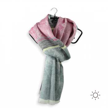 COTTON SILK SCARF NACRE ALGO PINK