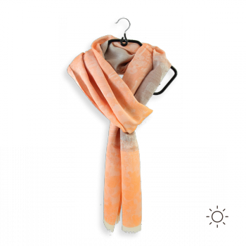 COTTON SILK SCARF SALIN ORANGE BROWN