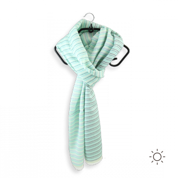COTTON SILK STOLE CERF VOLANT AQUA GREEN